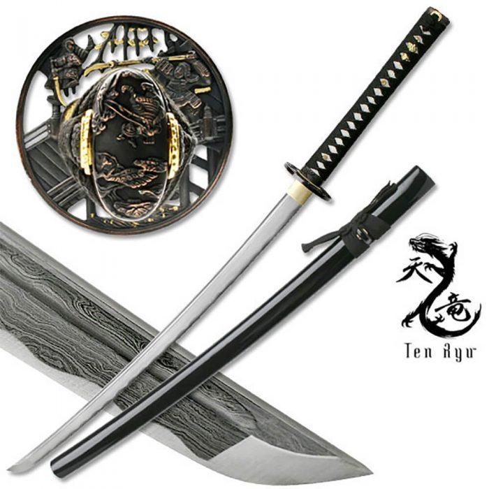 Ten Ryu Ikusa Damascus Katana MAZ-400